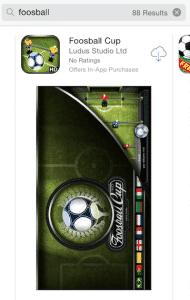"""Plus de 80 résultats dans l'Apple Store pour une application de """"foosball"""""""