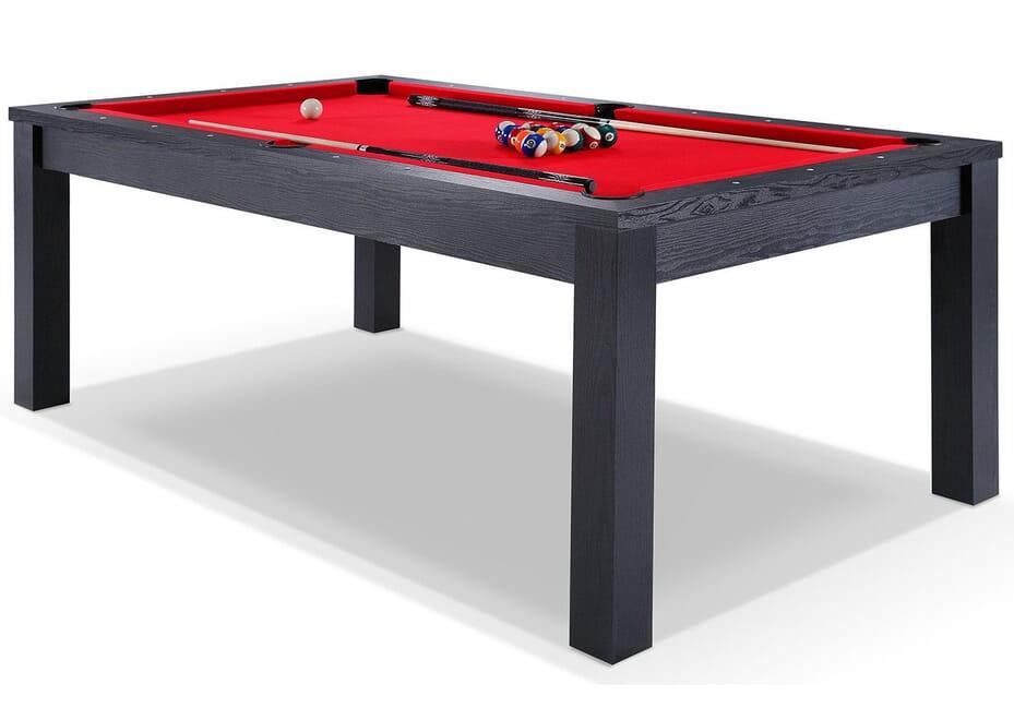 Billard Convertible 6FT noir tapis rouge Montgomery